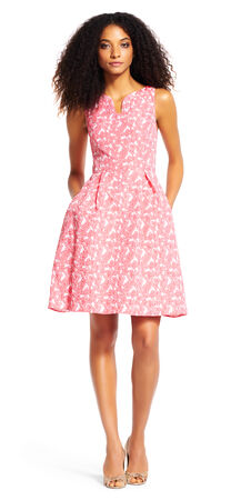 Floral Jacquard Fit and Flare Dress with Cutout Neckline