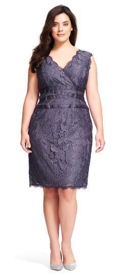 Sleeveless v neck large stretch floral lace cocktail dress with banded waist detail