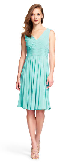 Pleated Jersey Dress with V-Neck