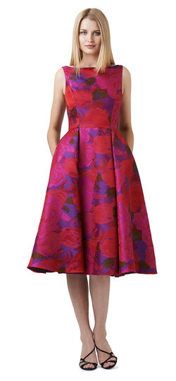 Sleeveless Boat Neck Floral Tea Length Dress