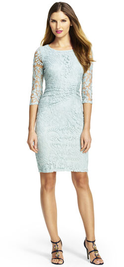 Lace Overlay Sheath Dress with Sleeves