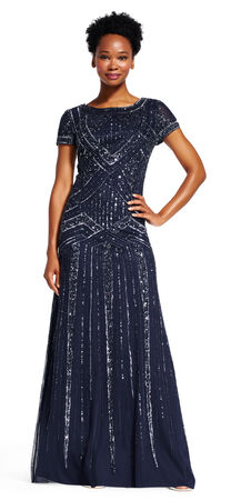 Short Sleeve Beaded Gown with Scoop Back