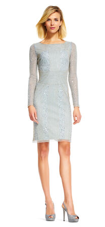Beaded Sheath Dress with Sheer Long Sleeves