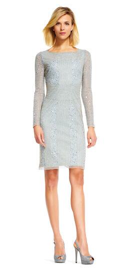Beaded Sheath Dress with Sheer Long Sleeves
