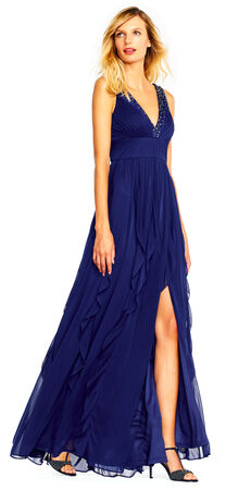 Shirred Tulle Gown with Ruffles and Jeweled Plunging V-Neckline