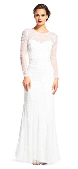 Floral Embroidered Gown with Sheer Long Sleeves