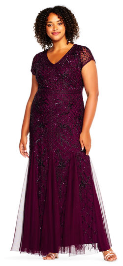 1940s Evening, Prom, Party, Cocktail Dresses & Ball Gowns Beaded Cape Dress with Sheer Accents $389.00 AT vintagedancer.com