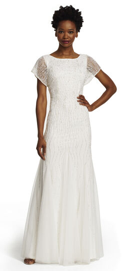 Short Sleeve Fully Beaded Gown With V-back