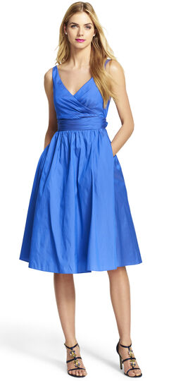 Petite Sleeveless Mid Length Taffeta Party Dress