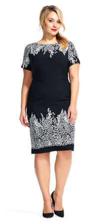 Floral Sheath Dress with Short Sleeves
