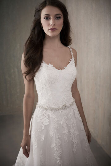 All-Over Lace Applique A-Line Wedding Dress with Straps - 31019