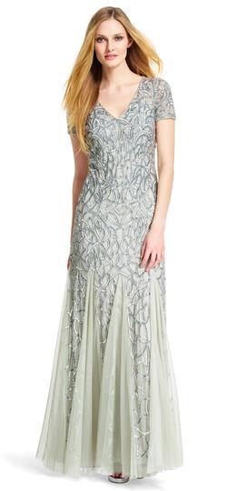 Short Sleeve V-neck Beaded Gown