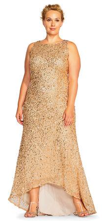 High Low Sequin Beaded Halter Gown