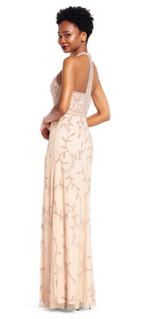 Vine Beaded Halter Dress with Racer Back