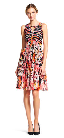 Daisy Print Pleated Chiffon Fit and Flare Dress