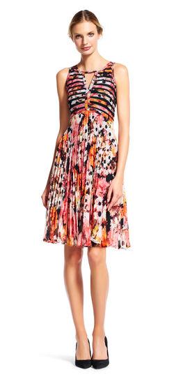 Daisy Print Pleated Chiffon Fit and Flare Dress