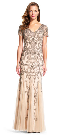 Short Sleeve Godet Gown with Netted Filigree Beading
