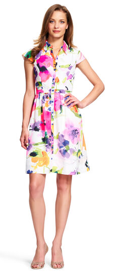 Watercolor Floral Fit and Flare Shirtdress