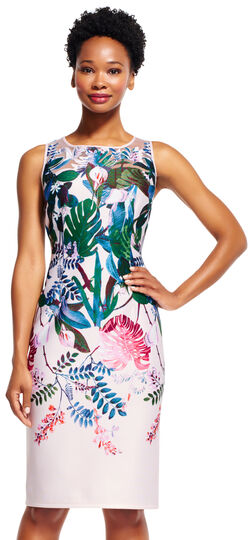 Floral Oasis Sheath Dress with Embroidered Sheer Neckline