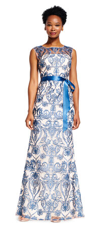 Embroidered Dress with Illusion Neckline and Sash Waist