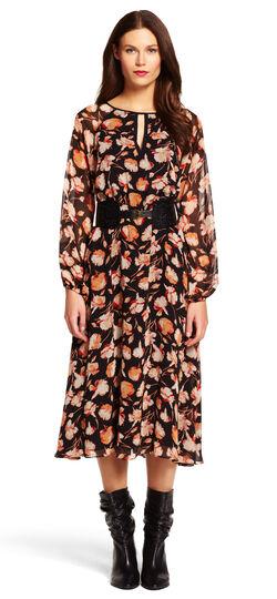 Belted Print Chiffon A-Line Dress