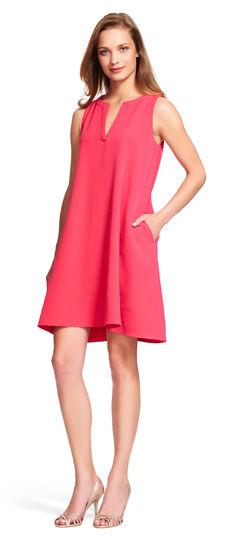 Sleeveless Shift Dress with Split Neckline