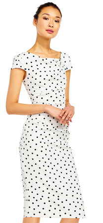 Dotted Crepe Sheath Dress