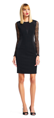 Illusion Neck Sheath Dress with Sheer Lace Long Sleeves