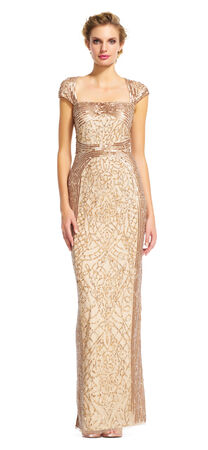 Cap Sleeve Sequin Beaded Dress with Cut Out Back