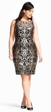 Sleeveless Metallic Scroll Embroidered Sheath Dress
