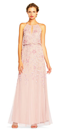 Floral Beaded Blouson Halter Gown