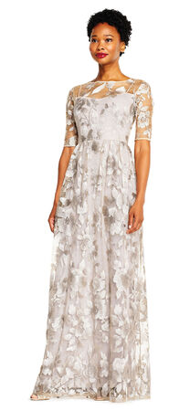 Embroidered Floral Lace Evening Gown with Sheer Sleeves