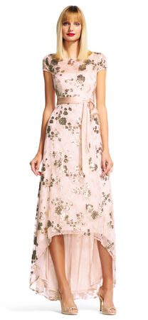 Sequin Floral Embroidered High Low Dress with Short Sleeves