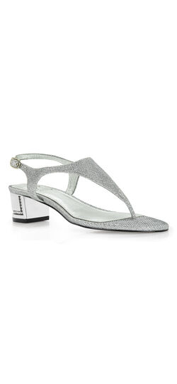 Cassidy Thong sandal with jeweled chunk heel
