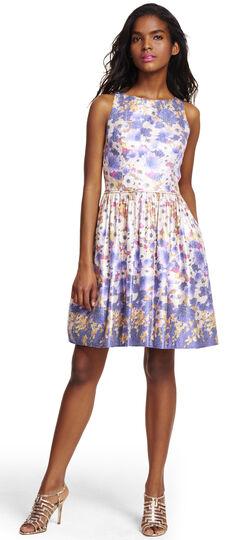 Halter floral metallic jacquard party dress