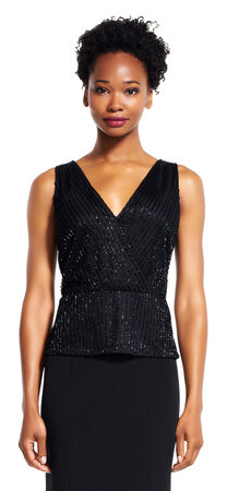 Sleeveless Beaded Wrap Peplum Top