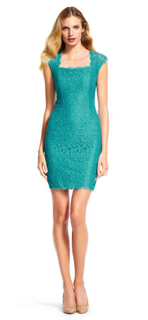 Cap Sleeve Lace Cocktail Dress with Open Back
