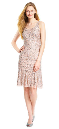 Scoop Neck Midi Beaded Cocktail Dress