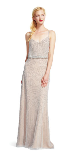 1920s Cocktail Party Dresses, Evening Gowns Beaded Blouson Gown $300.00 AT vintagedancer.com