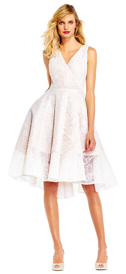 1950s Style Wedding Dresses Floral Embroidered Fit and Flare Dress with High Low Skirt $99.99 AT vintagedancer.com