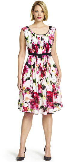 Sleeveless Floral Pleated Fit and Flare Dress