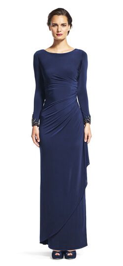 Long Sleeve Draped Gown with Beaded Cuffs