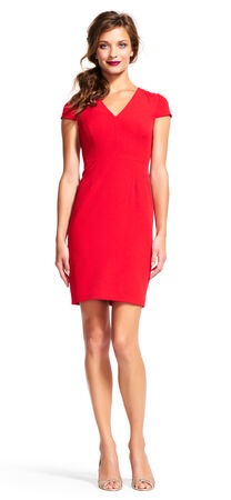 Cap Sleeve Sheath Dress with V-Neck