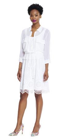 Embroidered and Chiffon Shirt Dress