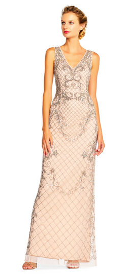 Downton Abbey Inspired Dresses Floret Beaded Column Gown with V-Neckline $349.00 AT vintagedancer.com