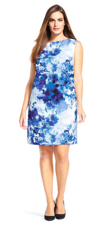 Abstract Watercolor Shift Dress with Exposed Zipper