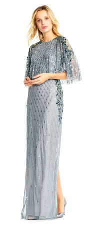 Sequin Beaded Dress with Popover Cape Bodice