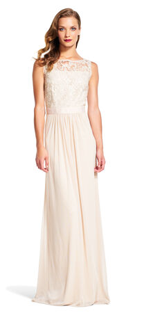 Sleeveless Tulle Gown with Sequin Scroll Embroidered Bodice