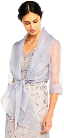 Organza Wrap Jacket with Short Sleeves