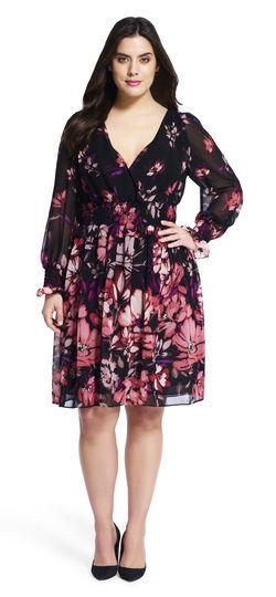 Floral Printed Long Sleeve Chiffon Dress